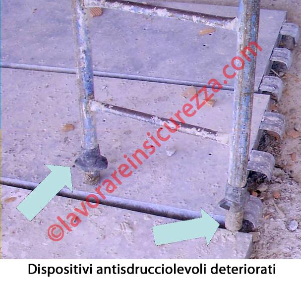 Dispositivi antisdruccevoli deteriorati